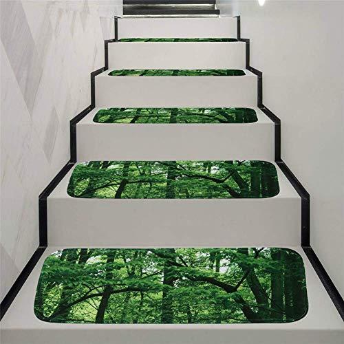 rutschfeste Stufenmatten,70X22cm, Grün Woods Selbstklebender Treppenstufen-Teppich Schlafzimmer Badezimmer Tür Boden Weich Und Bequem Stufen Teppiche Protector Matten,15pcs