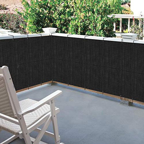 Black Mesh Privacy Screen Fence Heavy Duty with Grommets - Custom Screen Fence UV & Weather Resistant for Outdoor Porch, Balcony, Garden, Backyard, Swimming Pool (6' x 20')