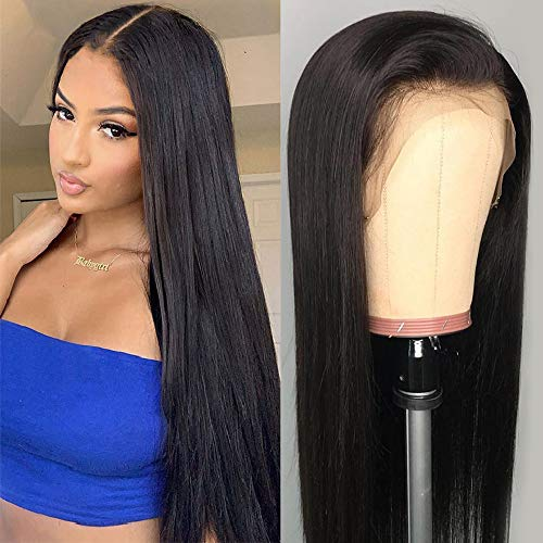 NOBILITY Hair 10A Lace Front Human Hair Wigs (18inch) 13x4 Brazilian Straight Lace Front Wigs 100% Unprocessed Virgin Human Hair with Baby Hair Pre Plucked 150% Density For Black Women Natural Color