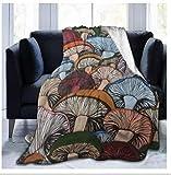 XZDPPTBLN Mantas de Franela Súper Suave de Lana Setas de Colores Dibujados a Mano Mantas con Estampados Esponjosa y Cálida Mantas para la Cama y el Sofá 180cm x 200cm