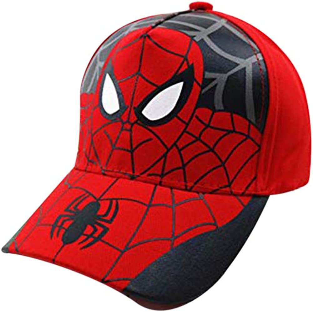 Kid's Youth Spider Man Hat Little Boys Toddler Baseball Hats Caps Adjustable Snapback Hip Hop Cap (Style A, Red)
