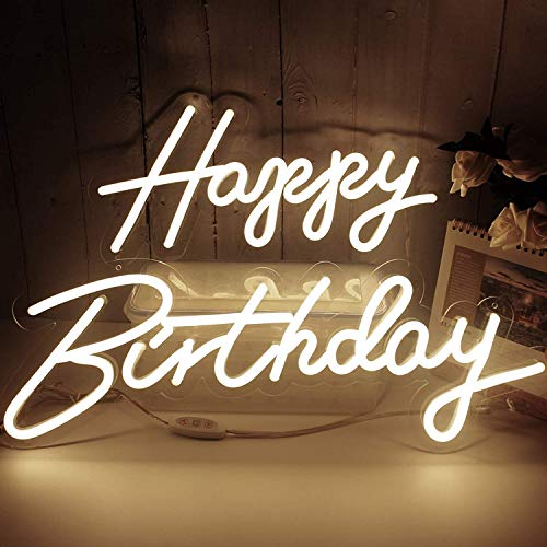Happy Birthday Neon Lights Signs for Wall Decor,Happy Birthday Decorations for Women Men Kids, Backdrop, Photo Prop,Warm White 22.8X7.8 & 16.5X8.3Inches