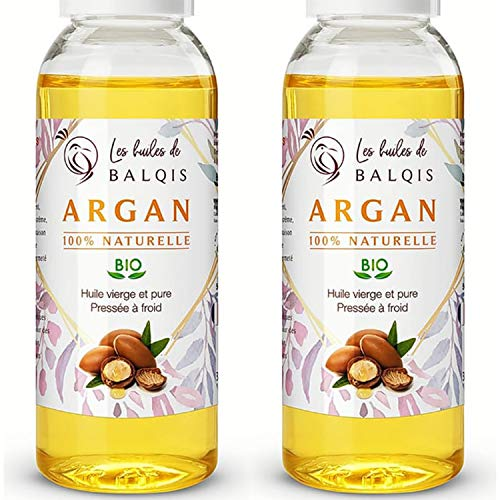 2x50 ml Huile d' ARGAN oil 100% bio du maroc pressée à froid pure soin cheveux, peau, barbe, corps, anti rides, massage, vergetures, ongles