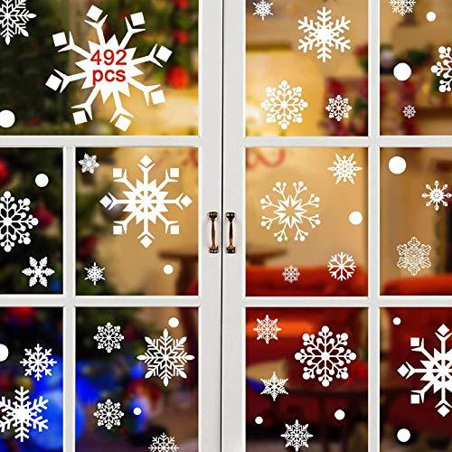 Yuson Girl 492 PCS Fiocco di Neve Adesivi Foglio di Vinile Decorazioni Finestra per Regali di Natale...