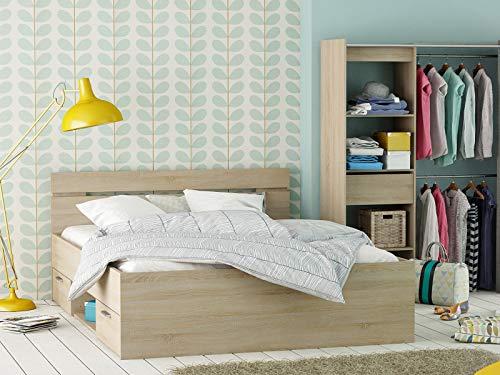 möbelando Kompaktbett Doppelbett Bettgestell Bett Bettrahmen Funktionsbett Lorenzo I Sonoma-Eiche