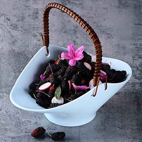 YNHNI Celadon vajilla de cerámica Cesta cestas Flor en Forma de Placas Cuencos Manualidades Adornos (Color : L)