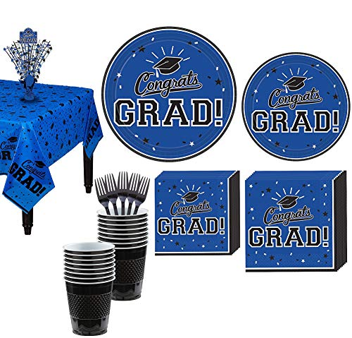 Party City Congrats Grad Blue 2019 Graduation Decorations and Supplies for 18 Guests with Plates, Napkins and More