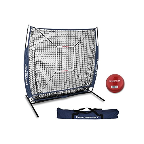 Powernet Baseball und Softball Praxis Net 5 x 5 (Paket mit Strike Zone und Training Ball +, navy