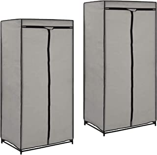 Nishore Armario de Tela Ropa Organizador Closet Port/átil Guardarropa con Cremalleras Crema 75 x 50 x 160 cm