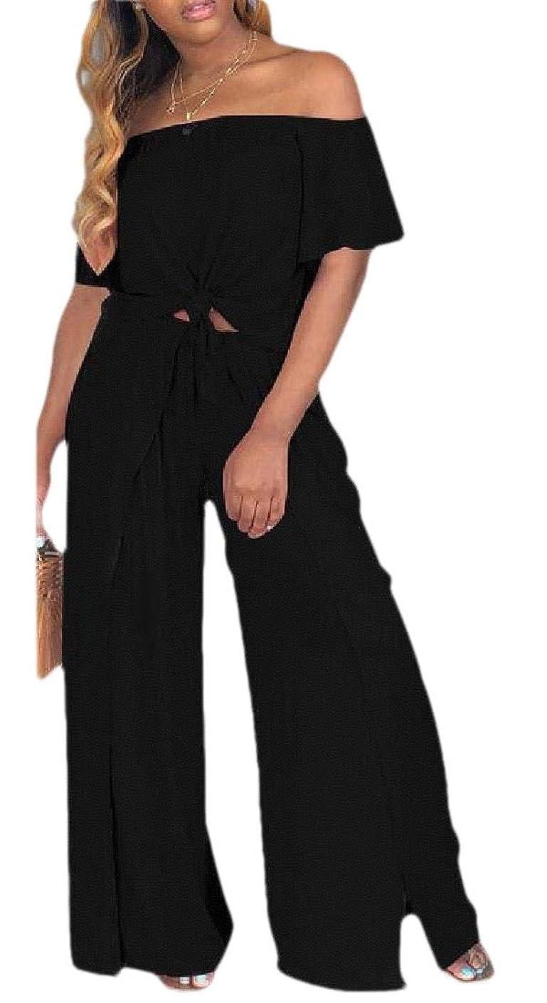 肉のファランクス団結するWomens Short Sleeve Two Piece Outfits Crop Top Wide Leg Pants Set