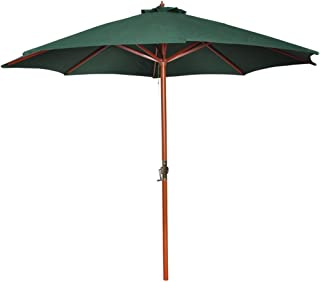 vidaXL Parasol 3m Green with Brown Pole Outdoor Garden Beach Umbrella Canopy