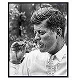 JFK Poster - 8x10 John F Kennedy Smoking Weed - JFK Memorabilia - JFK Smoking Marijuana - Dope Wall Art - Cannabis Gifts - Pothead Gifts - Stoner Room Decor - Marijuana Decor - Historic Photos
