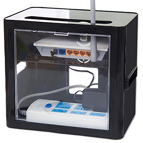 TSdrena ルーター 収納 ボックス (背面クリア扉 搭載) 電源タップ・ケーブル収納 ブラック PCM-ROERB-B