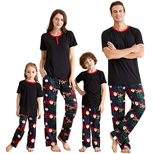 IFFEI Matching Family Pajamas Sets Christmas PJ's with Short Sleeve Black Tee and HOHOHO Print Pants Loungewear Women-S