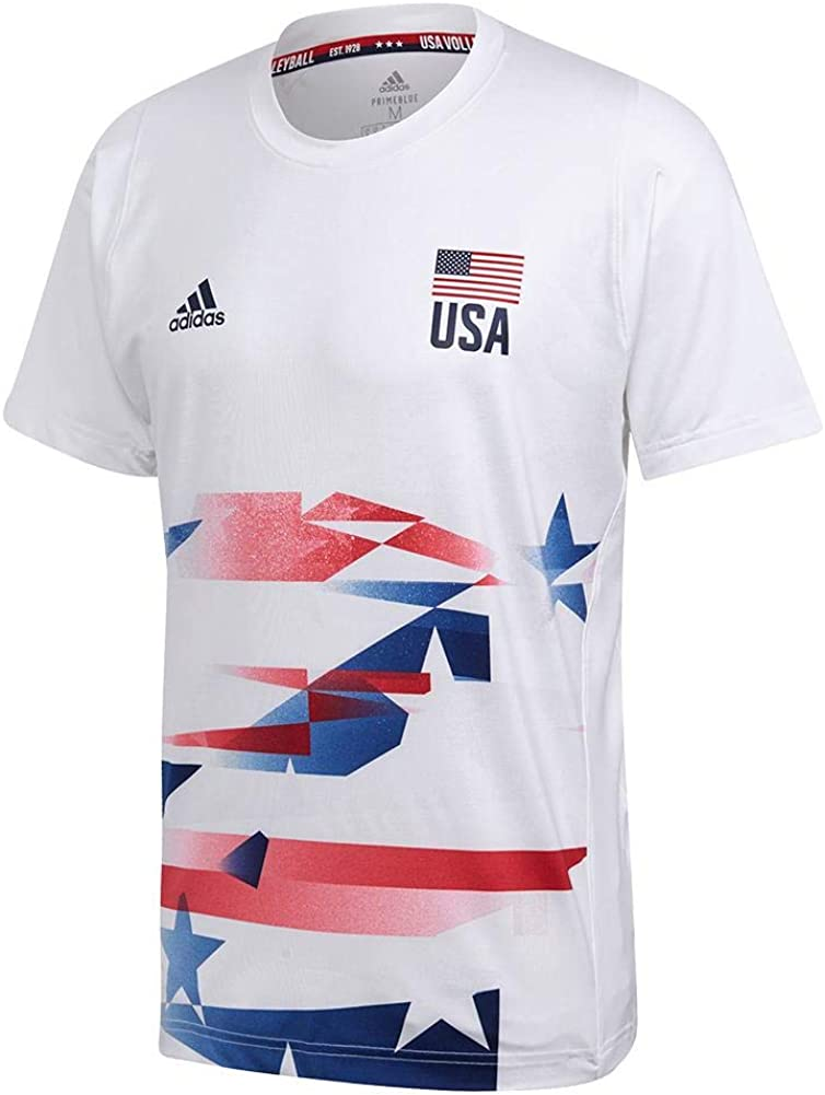 Amazon.com : adidas Mens USA Volleyball Primeblue Replica Tee ...