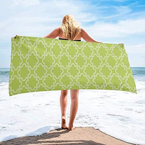 Modern Trellis Plaid Toalla de Playa de Secado rápido Personalizada, Toallas de Mano absorbentes y Ligeras para baño, Hotel, Gimnasio, Piscina, natación (27 'x55, Verde Menta geométrico marroquí)