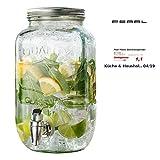 PEARL Wasserspender: Retro-Getränkespender aus Glas, Einmachglas-Look, Zapfhahn, 3,5 Liter...