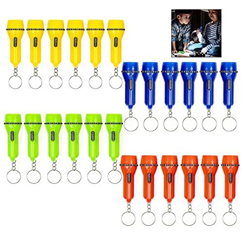 XLKJ 24Pcs Linterna LED Infantil de Bolsillo, Mini Linternas Llavero para Niños, Mini Lámpara con Luz para Acampar, Mini Linterna de Juguete para Navidad Regalos de Fiesta