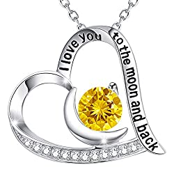 I Love You to The Moon and Back Yellow Citrine Swarovski Necklace Sterling Silver