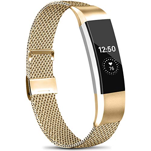 Meliya Metal Loop Bands Compatible with Fitbit Alta/Fitbit Alta HR, Stainless Steel Mesh Megnet Lock Replacement Wristbands for Women Men (Small, 06 Rose Gold)