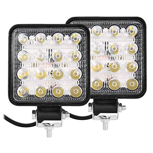 Faros de Trabajo LED Tractor de 48W Square 16 LED 12V 24V Focos de Coche Faros Delanteros para Camión Tractor SUV Barco… (2 PCS)