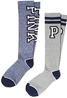 VICTORIA SECRET - CREW SOCK SET. PINK GREY SILVER AND BLACK (2 PAIRS) ULTIMATE KNEE HIGH - SOCKS - SOLD OUT ONLINE!!!!!