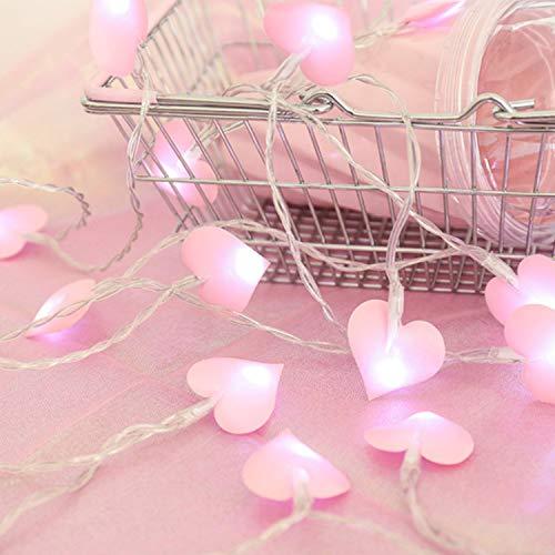 Zorara LED Herzform Lichterkette, 20 LED 3M lichterkette mit Batteriekasten,für Terrasse, Weihnachten, Hochzeit,LED lichterkette für Schlafzimmer, draußen, Prinzessinnen-Schloss, Spielzelte (Rosa)