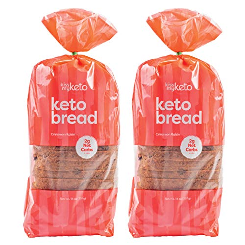 Kiss My Keto Bread Cinnamon Raisin — Low Carb Bread (2g Net), 5g Protein / Slice | Fruity Keto Bread Low Carb & Low Sugar | Low Calorie, Zero Soy with No GMOs (2 Packs)