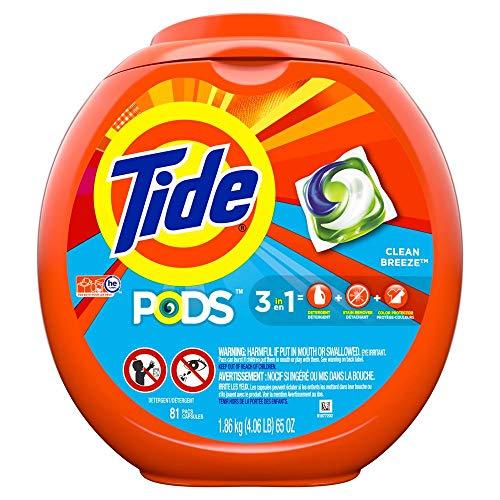 Tide PODS Laundry Detergent Soap PODS, High Efficiency (HE), Clean Breeze, 81 count