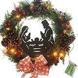 Corona de Navidad decorativa creativa corona de Adviento con bayas, corona de Navidad hecha a mano, adornos para decoraciones de Navidad, puertas, ventanas, colgantes de ratán