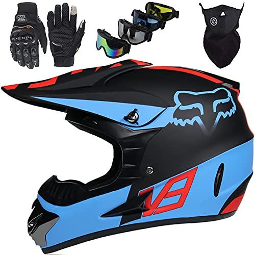 Kids Motocross Helmet, Youth & Adult Electric Dirt Bike Motorbike Helmet Set (4 Pieces) for Boys Girls Full Face Quad Bikes BMX Bicycle MTB ATV Cross Helmet - with Fox Design - Matte Black Blue