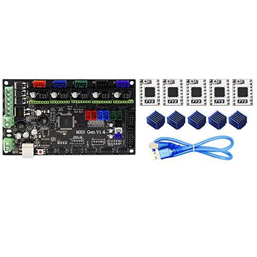 Harwls MKS-kaart Gen-L V1.4 + Driver S109 + Thermal-Dissipatoren compatibel met de controller voor 3D-printer Ramps1.4