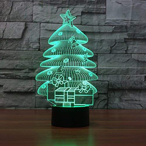 Luces De Ilusión 3D, Patrones De Árboles De Navidad En Siete Colores, Luces Para Dormir, Regalos De Cumpleaños Para La Decoración Del Dormitorio Y La Sala De Estar