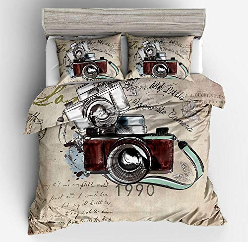 Fadaseo Kids Duvet Cover Single 3D Printing Retro Camera Taking Photos 3 Pieces Bedding Set. Easy Care And Super Soft Cotton Design.With 2 Pillowcases Hypoallergenic. Size 140 X 200 Cm