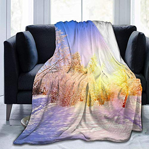 Yuanmeiju Micro Fleece Manta Throw Manta Watercolor Snow Tree Print Ultra-Soft Light Weight Cozy Warm Fluffy Plush Manta Microfiber for Bed Couch Chair Living Room Fall Winter Spring 60x50 Inch