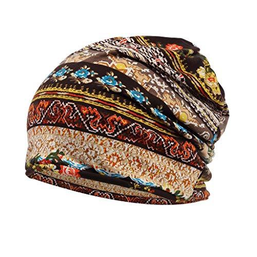 F Fityle Chemo Hut Kopftuch elastische Turban Mütze Kopfbedeckung Kopf Turban Kappe für Frauen Haarausfall - Kaffee, 55-60 cm