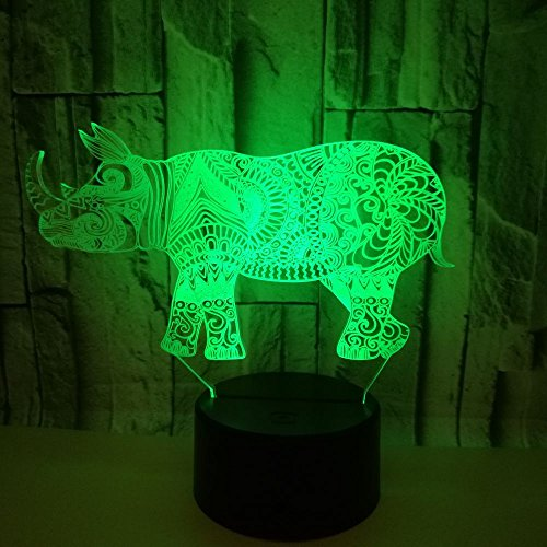 Nachtlampje voor baby, strakke dieren, 3D, USB-tafellamp, touch-schakelaar, 7 kleuren ter decoratie van kinderkamers en verjaardagscadeaus voor kinderen