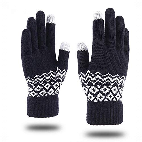 Sfqhc Schwarze Thermo-Thermo-Handschuhe für Herren Touchscreen Strickmuster schwarz