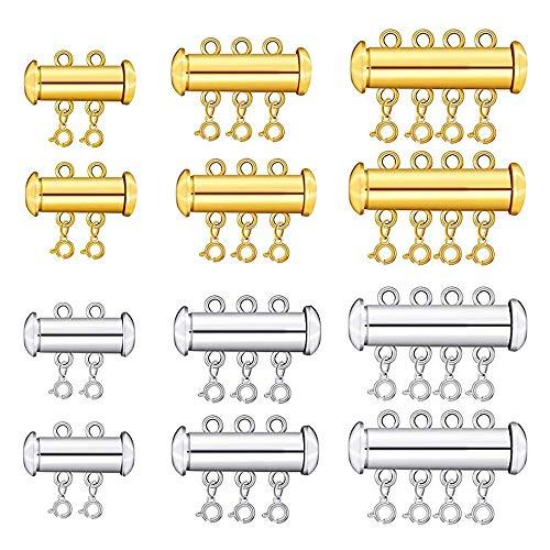 Aweisile 12 Piezas Cierre De Cierre Deslizante Cerradura Collar Conector Hebras Múltiples Cierre De Tubo Deslizante magnético de Bloqueo Conectores de Collares Pulsera para la creación de