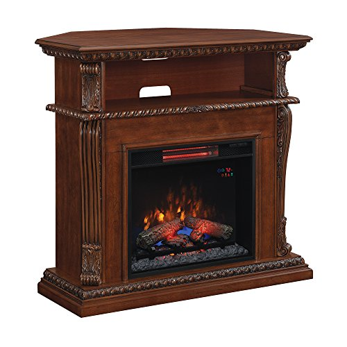 """Classic Flame 23DE1447-W502 Corinth Wall or Corner TV Stand for TVs up to 47"""", Burnished Walnut (Electric Fireplace Insert Sold Separately)"""