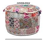 decorativa bohemio otomana indio otomana de Patchwork bordado indio Vintage algodón redondo puf Otomano Pie Taburete, asiento de puf infantil, diseño de hecho a mano