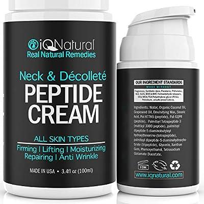 IQ Natural Neck Firming Cream, Anti Aging Moisturizer for Neck & Décolleté, Double Chin Reducer, Skin Tightening Cream 3.4 oz.
