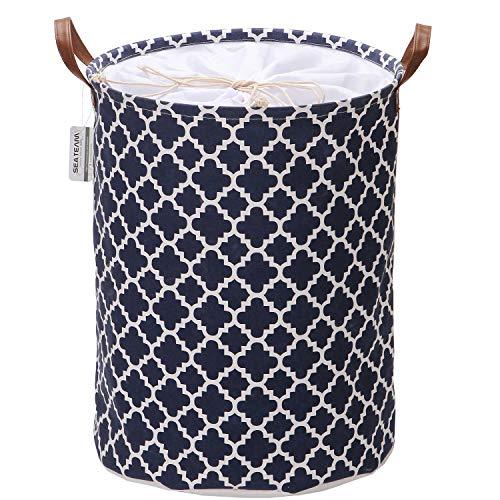 Sea Team Marokkanisches Gittermuster Wäschekorb Leinwand Stoff Wäschekorb Faltbarer Aufbewahrungsbehälter mit PU-Ledergriffen und Kordelzugverschluss, 19,7 x 15,7 Zoll, wasserdicht innen
