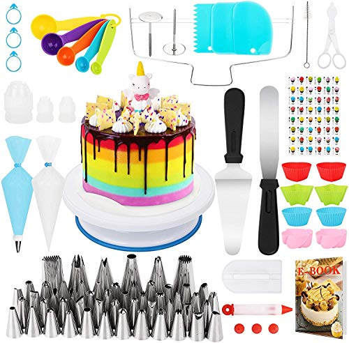 Popolic 120 pcs Juego de Decoración de Pasteles, Torta Giratoria, Cake Turntable,...
