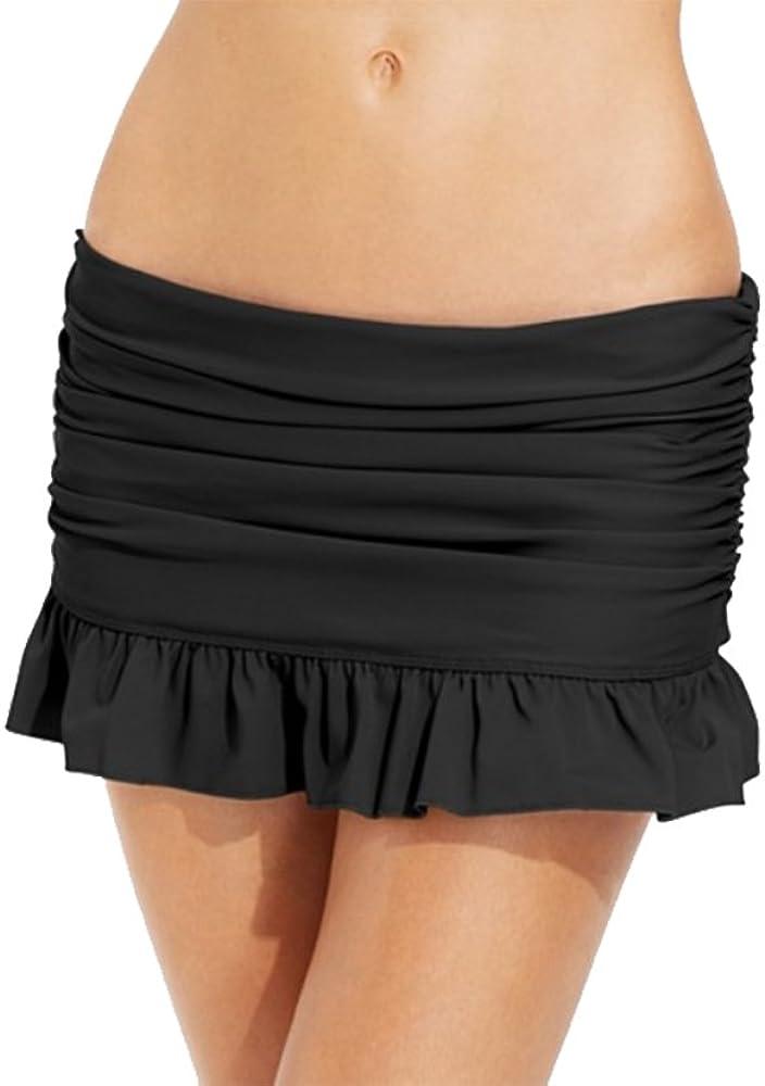 NEW Island Escape Blue Solid Skirtini Hipster Swim Skirt Bikini Bottom 10