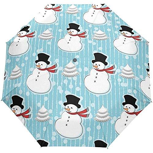 Weihnachten Neujahr Winter Schneemann gestreift Auto Öffnen Schließen Regenschirme Anti UV Folding Compact Automatic Umbrella