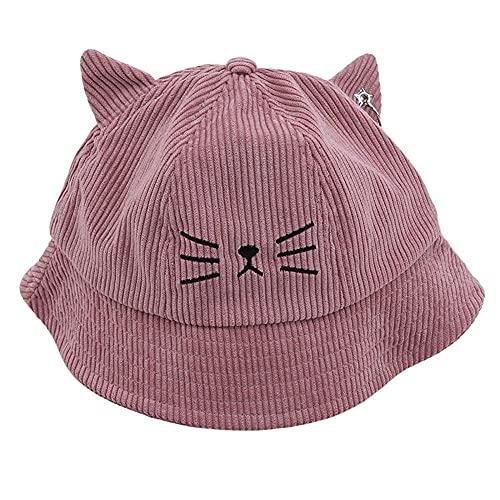 AOQW Sombrero De Pescador Multicolor Kitty Bucket Hat Primavera Otoño Gorros De Pana para Niñas Cute Cartoon Cat Ears Sombreros Accesorios De Ropa
