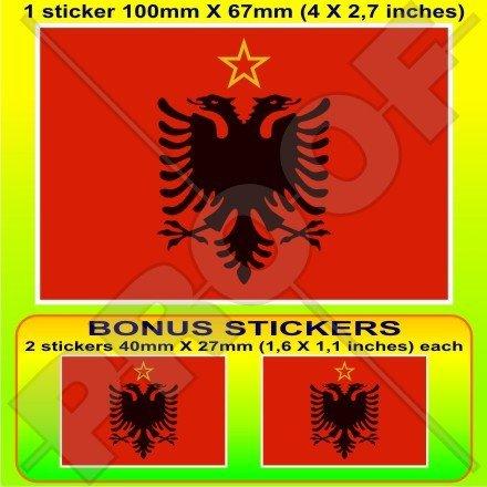 Albanien Albanische Flagge 1946–92Warschauer Pakt 10,2cm (100mm) Vinyl Bumper Aufkleber, Aufkleber X1+ 2Bonus