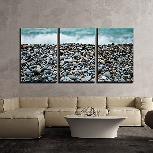 """wall26 - 3 Piece Canvas Wall Art - Pebbles on Beach - Modern Home Decor Stretched and Framed Ready to Hang - 16""""x24""""x3 Panels"""