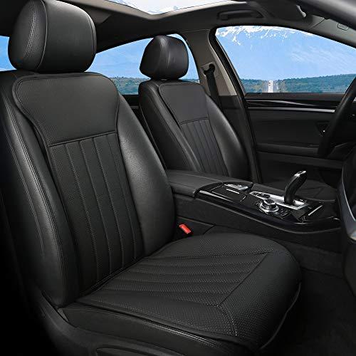 BLACK PANTHER Coprisedili Auto, Accogliente Coprisedile Universale Auto Pelle, Anti Scivolo Coprisedile Singolo con Schienale (2PCS-Nero)